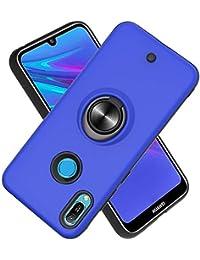 Funda para Huawei Honor 8A/Y6 2019/Y6 Prime 2019 Soft TPU + Duro PC Doble Parachoques,Giroscopio Rotatorio,Botón de Descompresión, con Soporte de Anillo Funda Protectora Serie -Azul Marino