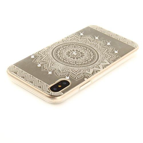 Per iPhone X,Sunrive® Custodia Cover Case in molle Trasparente Bling Glitter Strass Ultra Sottile TPU silicone Morbida Flessibile Pelle Antigraffio protettiva(occhio) Bianco Mandala