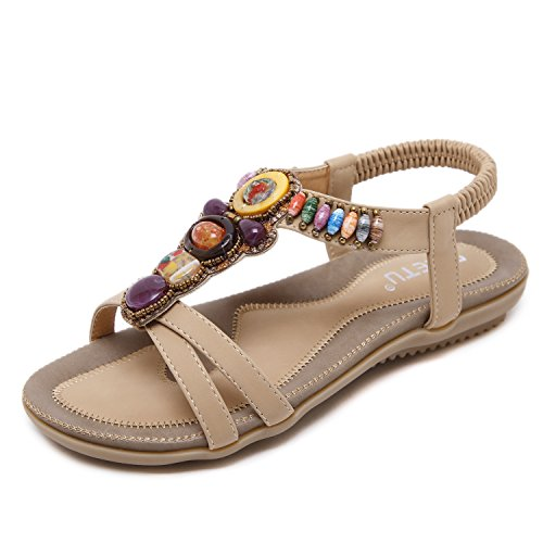 ZOEREA Sandalias Mujer Bohemia Flat Verano Sandals PU Flip-Flops de Cuero Zapatos de Mujer