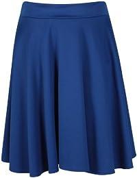 Purple Hanger - Jupe Femme Grande Taille Mi-Longue Patineuse Trapèze Evasé Hauteur Genou Bande de Ceinture Elastiquée Extensible Doux Uni