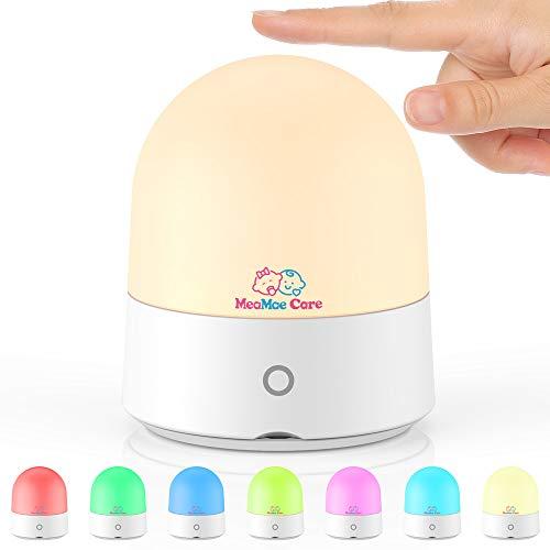 LED Nachttischlampe MeaMae Care Touch-Control Baby Nachtlicht Kinder mit USB Kabel wiederaufladbarer Batterie, Dimmbar Warmweißes Licht, 7 Farbwechsel Stimmungslicht, für Kinderkzimmer Stillen