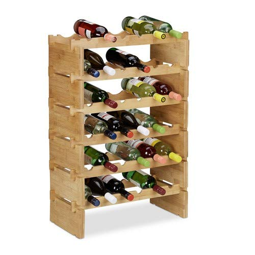 Relaxdays Weinregal stapelbar, Bambus Flaschenhalter für 36 Flaschen Wein, erweiterbarer Weinständer mit 6 Ebenen, Natur, Ablagen