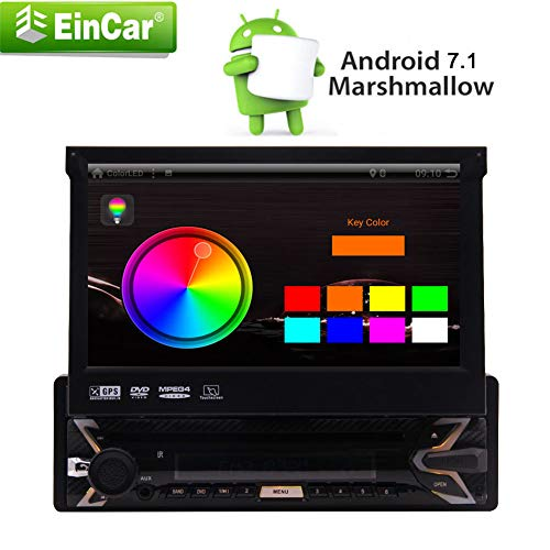 EINCAR Car Stereo Einzel Din mit 7-Zoll-Flip Out Touch Screen GPS-Navigation kostenlos WiFi Android 7.1 Auto SD/USB-DVD-Player für Universal Head Unit mit Bluetooth WiFi USB/SD/AM/FM/MP (Out Flip Dvd-player)