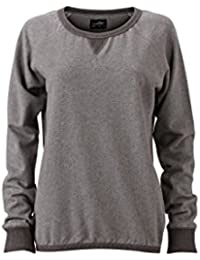 James & Nicholson Women's JN991 Basic Sweatshirt grey-melange/black-melange XXL