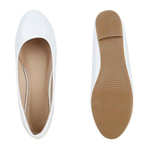 Klassische Damen Ballerinas | Glitzer Ballerina Schuhe Lack | Party Schuhe Zeitschuhe Schleifen | Basic Slipper Flats | Freizeitschuhe Hochzeit Abiball Weiß Nude