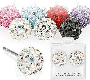 1 paar Emeco ® Klassic DISCO Ball Kugel Multi Strass Ohrstecker Ohrringe SEF1 (7mm, (Ball Ohrringe Disco)