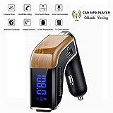 Mini-FM Emetteur Bluetooth pour la voiture, sans fil Adaptateur allume-cigare Radio Kit voiture avec affichage tension de la batterie, support mains libres Appel et 2 Chargeur USB, fente pour carte TF