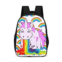 O5KFD&8 Unicorn Patterns Backpack Girls Casual Water Bottle Pockets Backpack - Spitting Rainbow Galaxy Daypack for Children Hiking Use