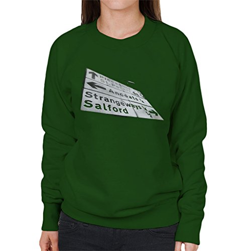Manchester Road Signs 1985 Women's Sweatshirt Bottle Green
