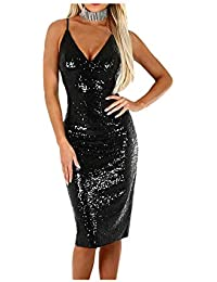 Snowbuff Donna in Poliestere con Paillettes Cocktail Mini Vestito Slim Fit  Matita Maniche Lunghe Scollo V Abito Dress… dea303d33f8