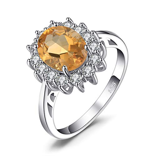JewelryPalace Prinzessin Diana William Kate 1.8ct Natürliche Gelb Citrin Ring Verlobungsring damenring 925 Sterling Silber Größe 51 to 59