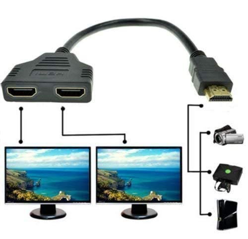 Jambuwala Enterprise 1080p Hdmi Male to Dual Hdmi Female 1 to 2 Way Hdmi Splitter Cable Adapter Converter for DVD Plays/PS3/HDTV, LCD Monitor and Projectors, Signal One in, Two Out (Black)