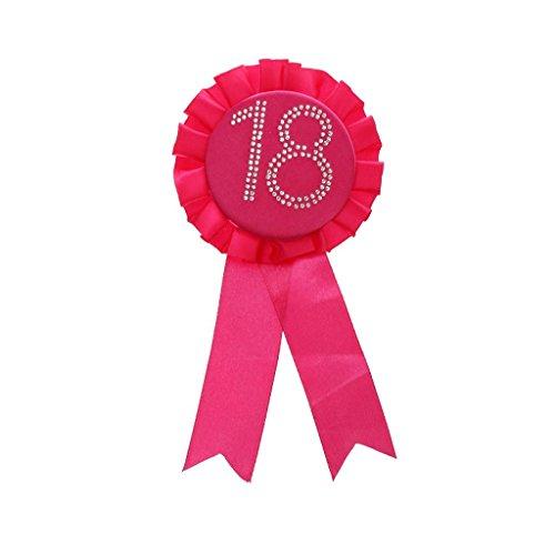 Preisvergleich Produktbild Glitter Geburtstag Rosette Abzeichen Brosche Award-Band Geburtstag Party Kostüm - Rose 18