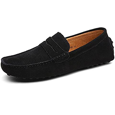 Jamron Mens Minimalism Casual Driving Shoes Black Suede Leather Loafers 2088 UK9.5