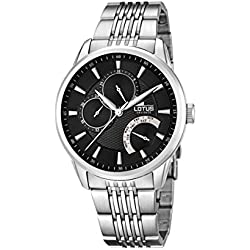 Lotus Men's Quartz Watch with Black Dial Analogue Display and Silver Stainless Steel Bracelet 15973/4