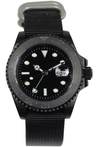 PARNIS Automatikuhr Modell 3001 'GMT-SUB-BLACK' Ø43mm Edelstahl zweite Zeitzone Datumsanzeige Drehlünette Mineralglas