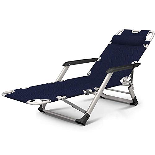 XUE Klappbarer Liegestuhl, Klappbarer Liegestuhl aus Metall für die Mittagspause Balkon Startseite Freizeit Lazy Beach Büro Rückenlehne Tragbarer Stuhl, 15-Gang-Verstellung Esszimmerstuhl,A -