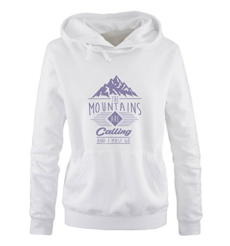 Comedy Shirts - The mountains are calling and i must go - Damen Hoodie - Weiss / Violett Gr. M