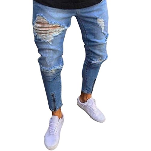 MCYs Men's Broken Hole Zipper Jeans Men Slim Biker Zipper Denim Jeans Skinny Frayed Pants Distressed Rip Trousers