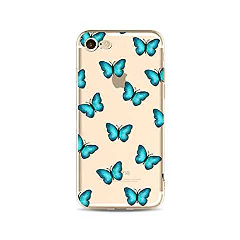 LaiXin Cell phone cover for iphone7 Plastic Protected Anti-scratch Anti Finger Silicone Sleeve Ultra-thin TPU Bag with Butterfly Pattern Design Dark Blue