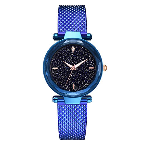 TWISFER Damenuhr Lady Watch Kreative Starlight Dial Watch Sky Star Armbanduhr mit Mesh Edelstahl Armband Fashion Damen Analog Quarzuhr -
