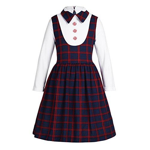 Freebily Vestido para Niña Colegio Uniforme Largo Manga con Camisa Blanco 5-12 años Azul oscuro 6 Años