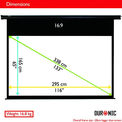 Great Buy for Duronic EPS133/169 HD Projector Screen 133″ (Screen: 295cm(w) X 165cm(h))- 16:9 Widescreen Matte White Screen – Electric Motorised switch control on Amazon