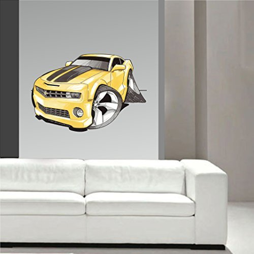 Koolart Cartone Muscle Americana Progettazione per Nuova Forma Chevy Camaro Adesivi Artistici Da Parete Decalcomania Cameretta Bimbi Grande 70cm ampio