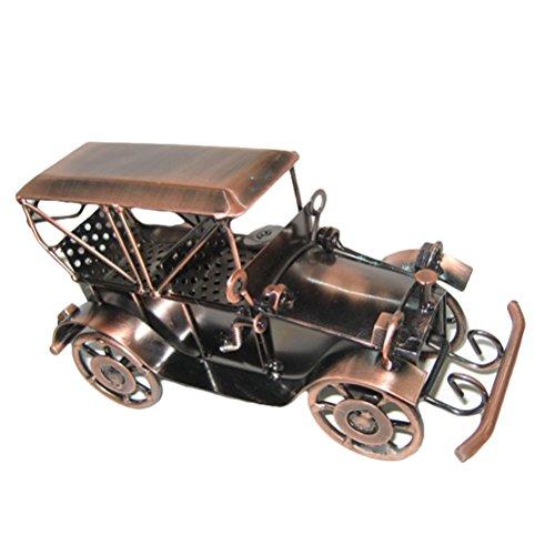 Vosarea Vintage Iron Car Model Handmade Classic Vehicle Models Retro Handicraft Collectible Iron Art Sculpture Home Desk Workplace Office Decoration (Bronze)