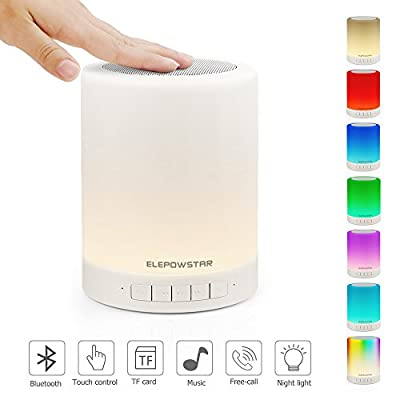 Bluetooth Music Speaker,Portable Dimmable Smart Touch LED Night Light Muisc Player/Hands-free with TF Card and USB Charging,3 Lever Brightness,7 Color Changing