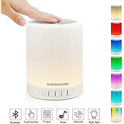 ELEPOWSTAR Multicolor Lampe de chevet LED Touch Portable - avec Haut-Parleur Bluetooth, Dimmable Couleur Veilleuse , De plein air Table Lampe avec Controle Tactile, Meilleur cadeau pour Hommes Femmes
