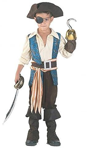 Premium Piraten-Kostüm für Jungen mit Hut, Gürtel und Stulpen | Hochwertiges Karnevals-Kostüm / Faschings-Kostüm / Kinderkostüm | Perfekte edler Pirat Verkleidung für Karneval, Fasching, Fastnacht (Größe: