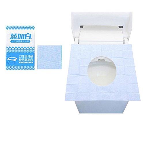 sumaju Papier WC-Sitz, (30PCS) Reisen Krankenhaus Haushalt Bad Notwendigkeit Einweg WC-Sitz abdeckt, 3Stück (blau + weiß) Blue&White