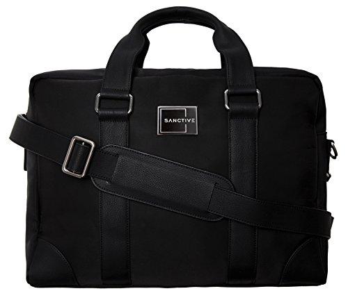 SANCTIVE Businesstasche Herrentasche Arbeitstasche inkl. Laptop Fach 15,6 Zoll | Umhängetasche Herren | Männer Tasche mit Leder Stripes, schwarz