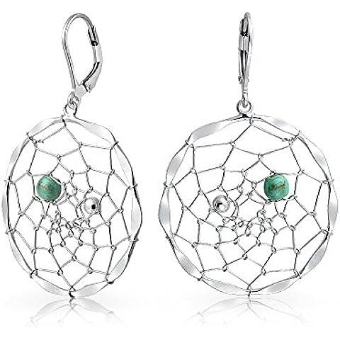 Bling Jewelry Argento 925 Turchese sintetico Dream Catcher levain Orecchini