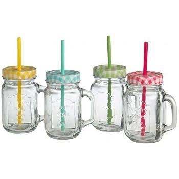 Trinkgläser mit Henkel mit Deckel und Trinkhalm 4 Gläser