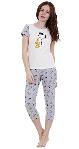 For You 2-teiliger sommerlicher Snoopy-Schlafanzug für Damen Mädchen kurzärmlig Mickey Minnie Shorts Pyjama SAX-Hose 3/4