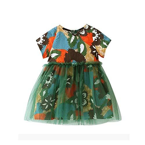 ZIHOUKIJ Baby Mädchen Plissee Prinzessin Kleid Mit Farbe Graffiti Design Kinder Sommer Casual Playwear Baumwolle, Leinen Mischung Täglichen Outfit Homewear Strand Kleidung - Leinen Mischung Rock