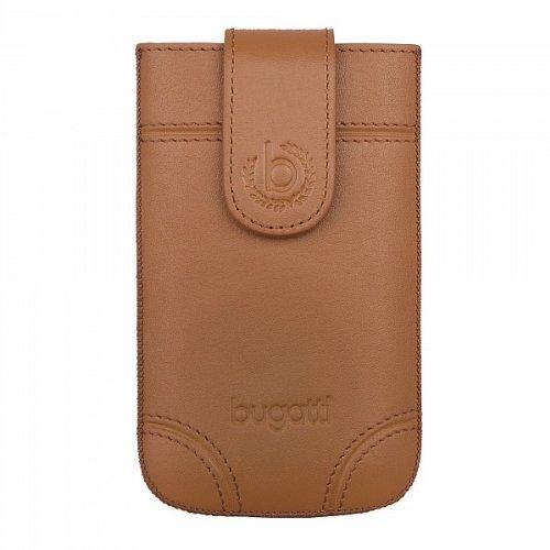 bugatti Dublin Echtledertasche für Samsung Galaxy SII, Microsoft Lumia 430, Huawei Y300, uvm. - Braun [Größe: SL | Handarbeit | Einfache Entnahme | Magnetverschluss] - 08313 Pda-tasche Pouch Case