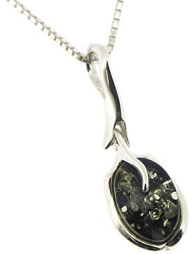 Nova Sliver Damen Halskette Silber mit Anhänger Bernstein India / Grün 46cm