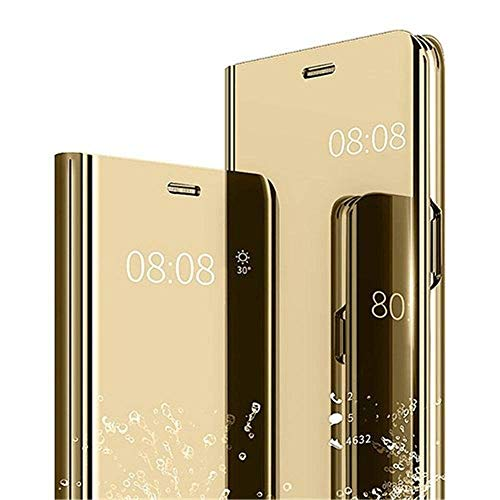 BIGZOOK® Luxury Clear View Electroplate Mirror Protective Leather Flip Cover for Samsung Galaxy J7 Pro (Gold)