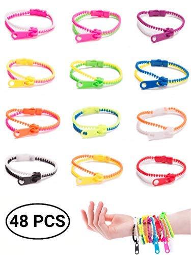 UpBrands 48 Pack Friendship Fidget Zipper Bracelets Sensory Toys Bulk Set Neon Colors Kit for Birthday Party Favors for Kids Goodie Bags Easter Egg Basket Stuffers (48 Pack 7.5 Inches) (Neon Party Favors)
