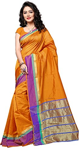 Indian Fashionista Women's Uppada Silk Solid Saree With Blouse Piece - NRPT1128I_Orange_Free...