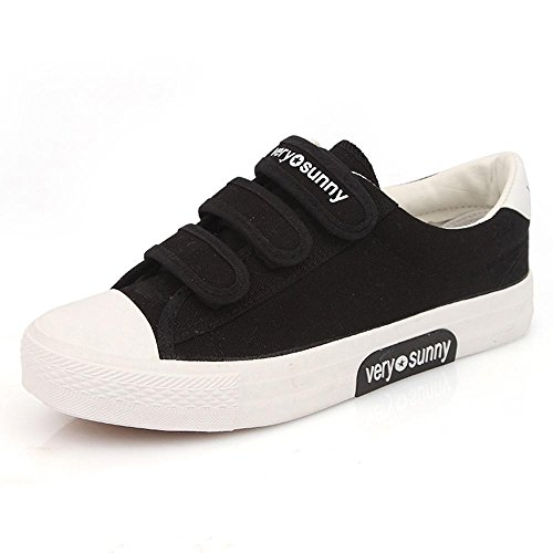 Women'S Low Top Fond Plat Toile Velcro Chaussures Patins De Loisir. Black