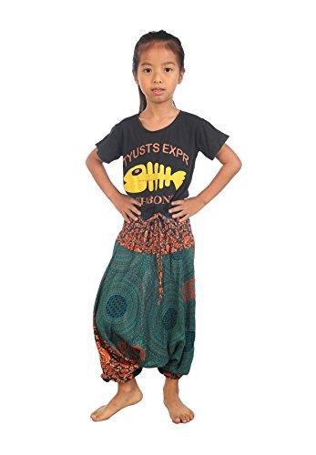 Lofbaz Mädchen Kinderhose Haremshose jumpsuit Blumenmuster Teal Grün Größe 4T