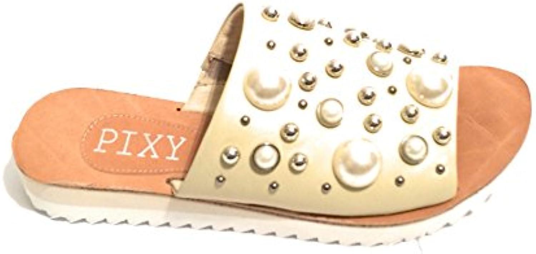 PIXY Scarpe Donna Ciabatta in Pelle col. Beige con Perle Sintetiche DS18PI09 | Prestazioni Affidabili  | Uomini/Donna Scarpa