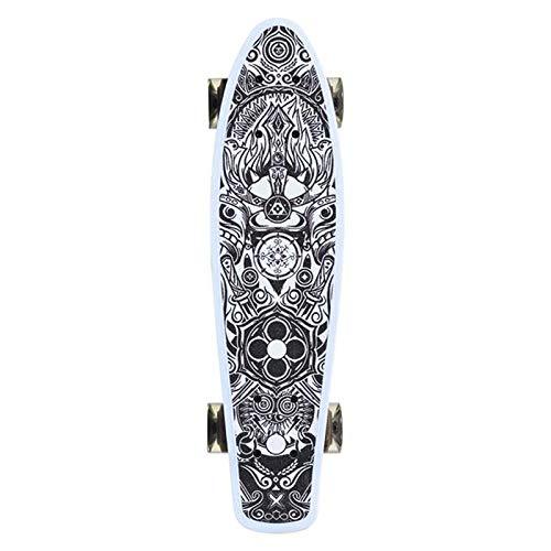 MONi Kinder Skateboard Gothic 22', 80A PU LED Rollen, ABEC 7, Aluminium Achse