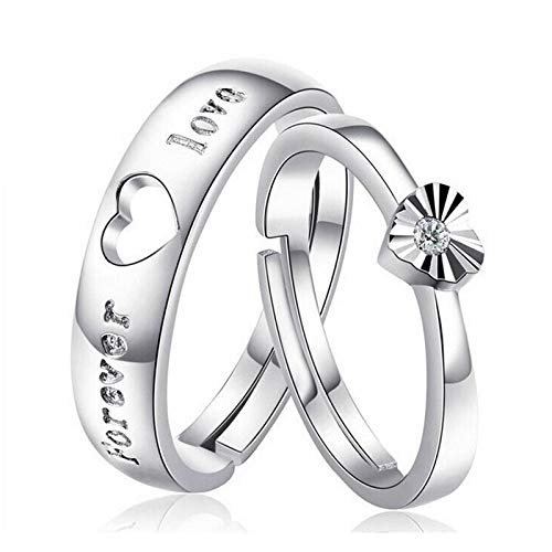 WANGJIA Ringe Ehering Herz Ringe Set Für Frauen 925 Sterling Silber Cz Kristall Schmuck Paar Anel Feminino Love