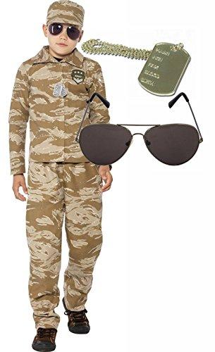 Kostüm Boy Armee (Wüste Armee Boy Soldier Kinder Fancy Kleid Kostüm Outfit mit Sonnenbrille & Dog)