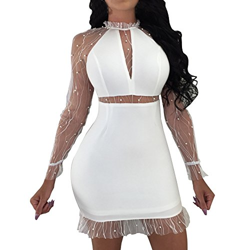 Honestyi Womens Nail Beads Langarm Abend Party Sexy Minikleid Club Dress Perspektive Perlen Damen Kleid(Weiß,S)